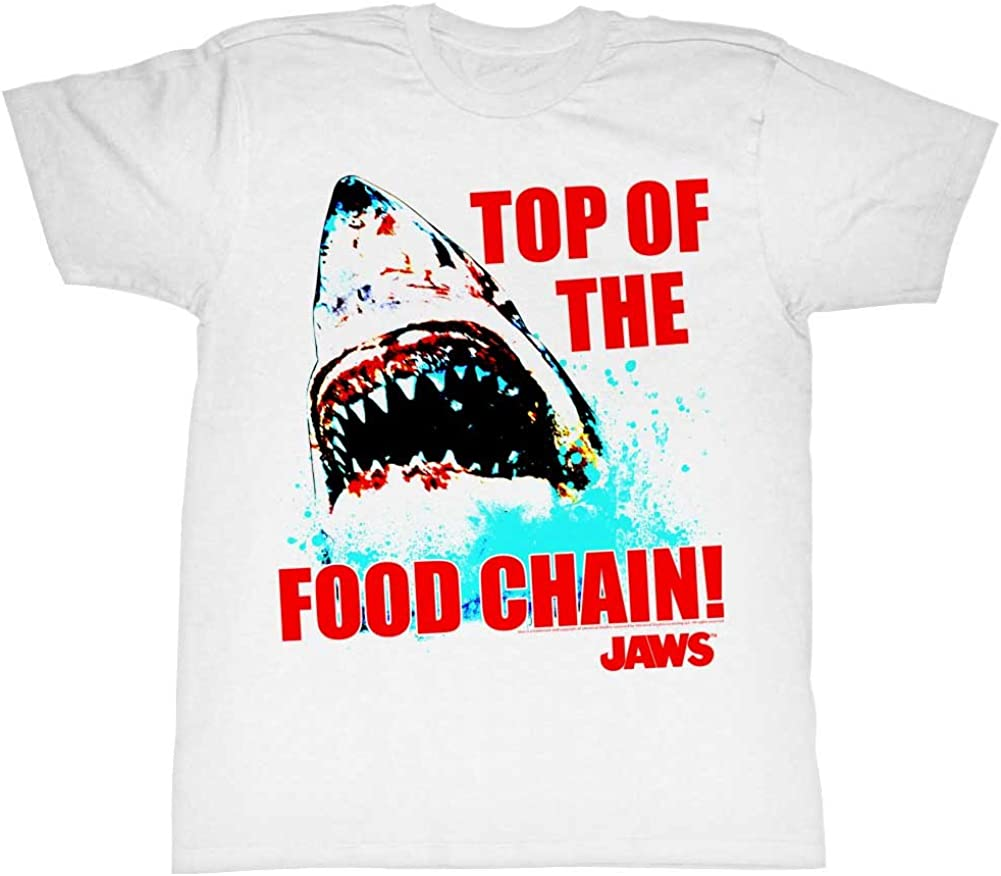 Jaws Classic Shark Thriller Film Top of The Food Chain Adult T-Shirt Tee