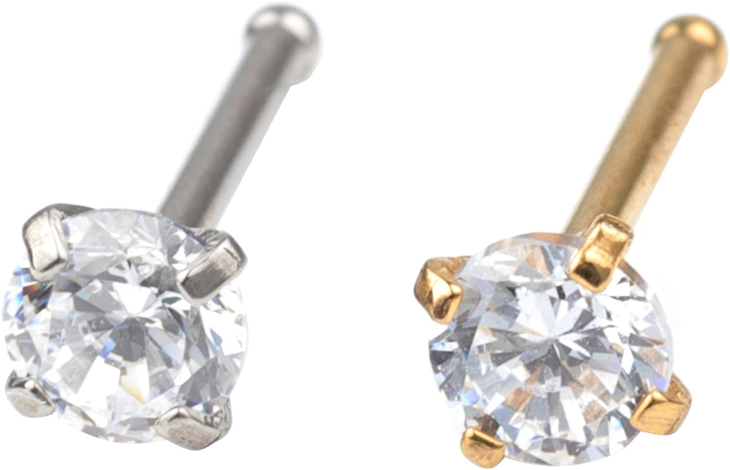 FORYOU FASHION Surgical Steel 18G 3mm Diamond CZ Nose Rings Studs Piercing Ear Body Piercing
