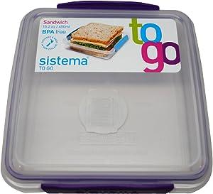 Sistema BPA-Free Reusable Food Storage Sandwich Container, Purple, 1-Pack
