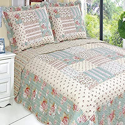 Quilt Coverlet Set Full Queen Double Size Country Cottage Floral Patchwork Pattern Green Cream Wrinkle Free Lightweight Reversible Hypoallergenic Bedding