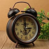 Creative school silent retro table simple European-style bedroom bedside Bell metal alarm clock,Ship Spears