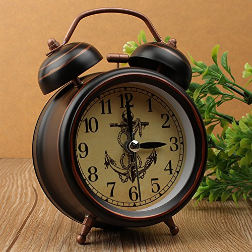 Creative school silent retro table simple European-style bedroom bedside Bell metal alarm clock,Ship Spears by Clocks CC (Image #1)