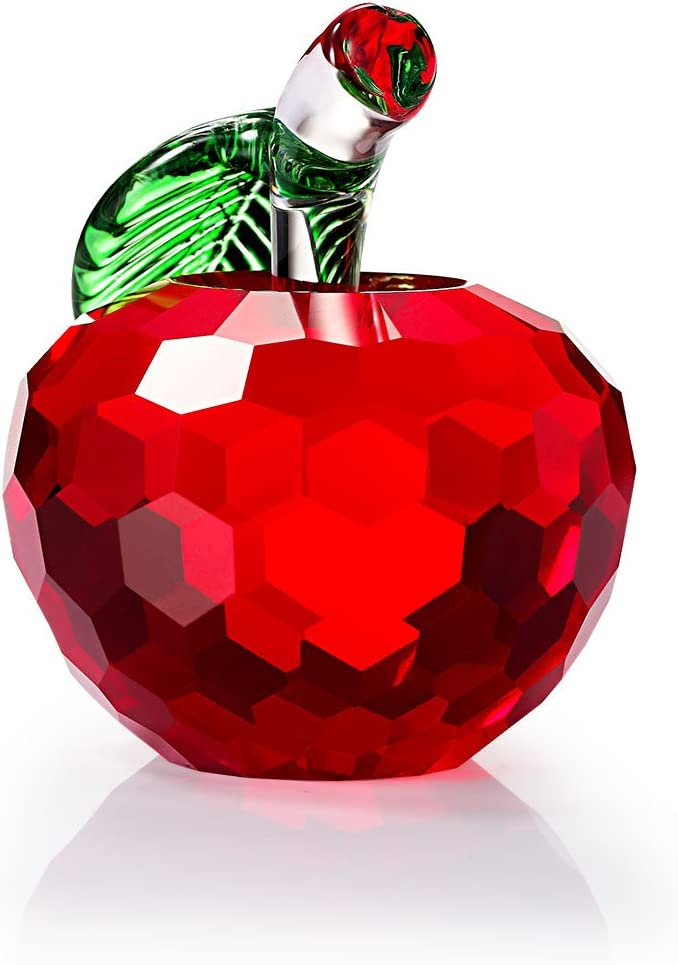 Duosuny Crystal Apple Paperweight, 40mm Art Glass Apple Collectible Figurines Best for Lucky Christmas Eve Gifts/Great Wedding Decor Gifts (Red)