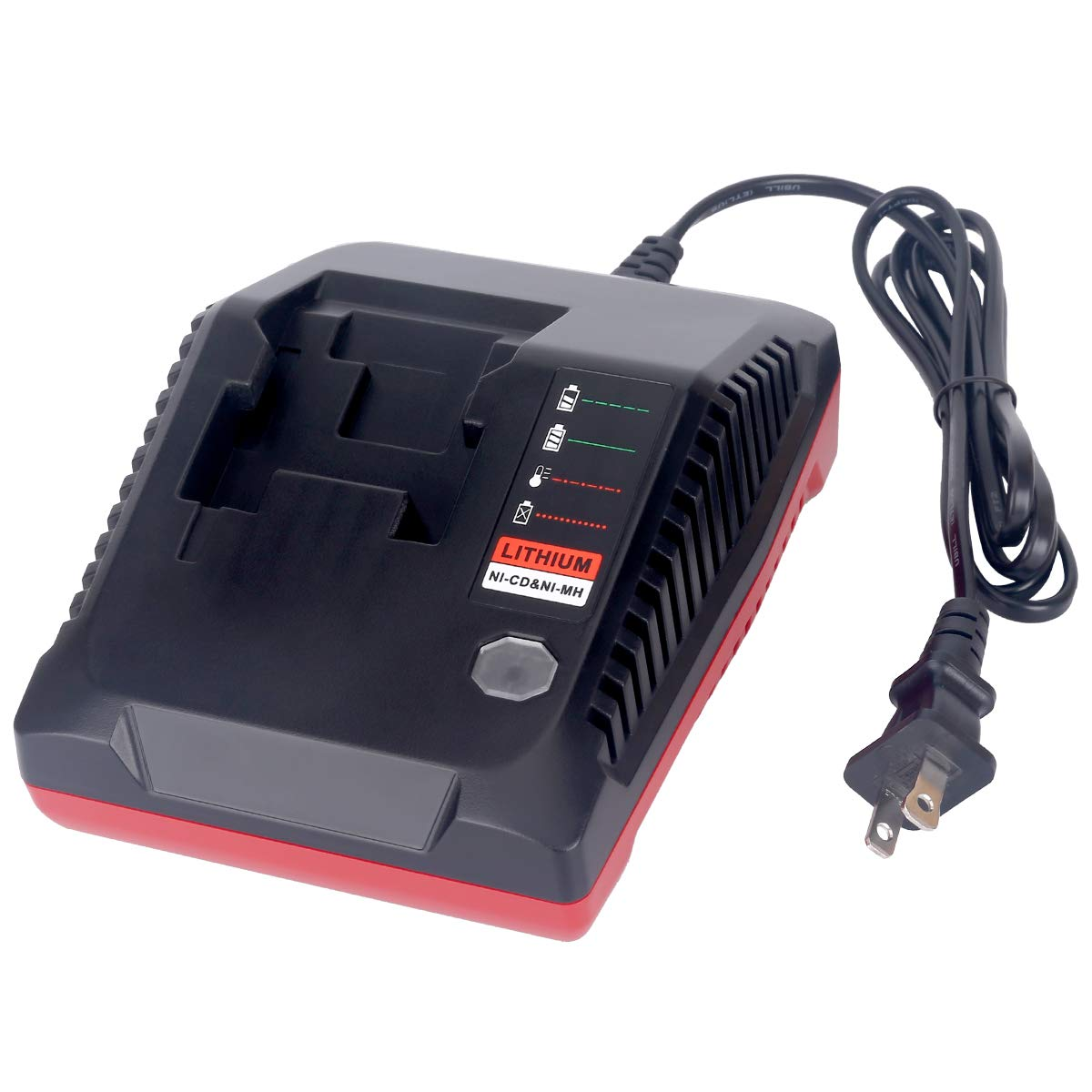 18-Volt Multi-Chemistry Battery Charger for Porter Cable PCXMVC Lithium Ion & NiCad NiMh Slide PC18B PC18B-2 PC18BL PC18BLX PCC489N Cordless Power Tool Battery