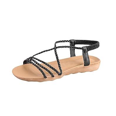 04daa2fba377 LuckUk Womens Sandals Ladies Sandals Women Summer Bohemia Woven Belt Simple  Slippers Flat Beach Sandals Shoes