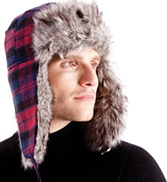 3fef67ab Men's Dark Red Checked Lined Trapper Hat with Faux Fur Trim: Amazon.co.uk:  Clothing