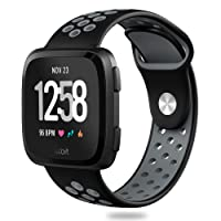 Hagibis Fitbit Versa Bands Sport Silicone Replacement Breathable Strap Bands for New Fitbit Versa Smart Fitness Watch