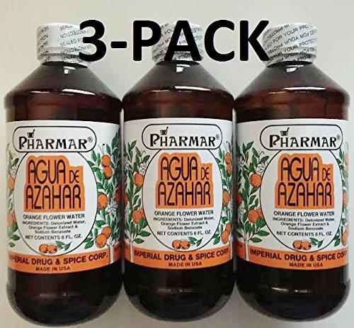 Agua De Azahar 8 Oz. Orange Flower-Blossom Water 3-PACK By Pharmark