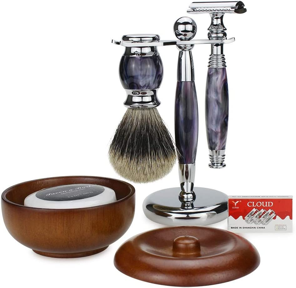 Straight Edge Razor Jabón de afeitar/Safety Razor soporte/brocha ...