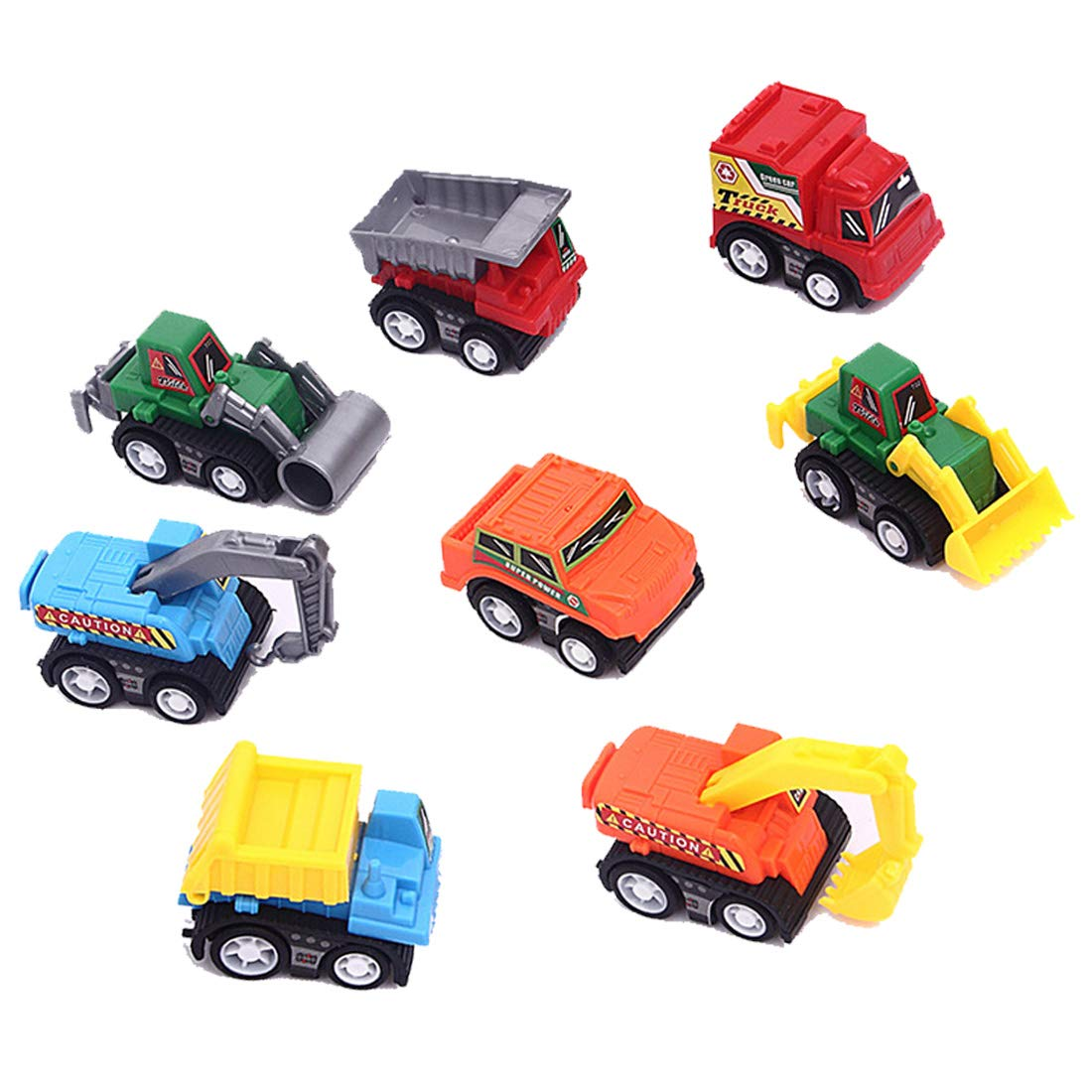 Syolee 8pcs Mini Cars Pull back and Go Vehicles Friction Powered Car Toys Classic Construction Team Vehicle Set for Children Kids Boys and Girls .