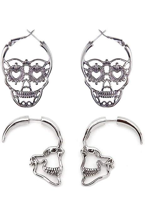 Goth Girl Jewelry Small Skull Earrings Let Your Inner Goth Shine Skull Theme Earrings Colorful Howlite Skulls Howlite Skull Earrings
