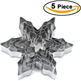 XYBAGS Snowflake Cookie Cutter Set - Stainless Steel Snowflake Shaped Cookie Candy Food Molds - 5 Piece