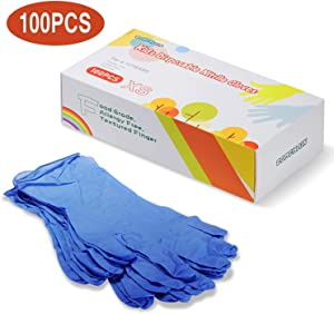ZOMCHAIN Nitrile Gloves Kids Gloves Disposable, Nitrile Gloves for 4-10 Years - Latex Free, Food Grade, Powder Free - for Halloween Preparation, Crafting, Painting, Gardening, Cooking, Cleaning