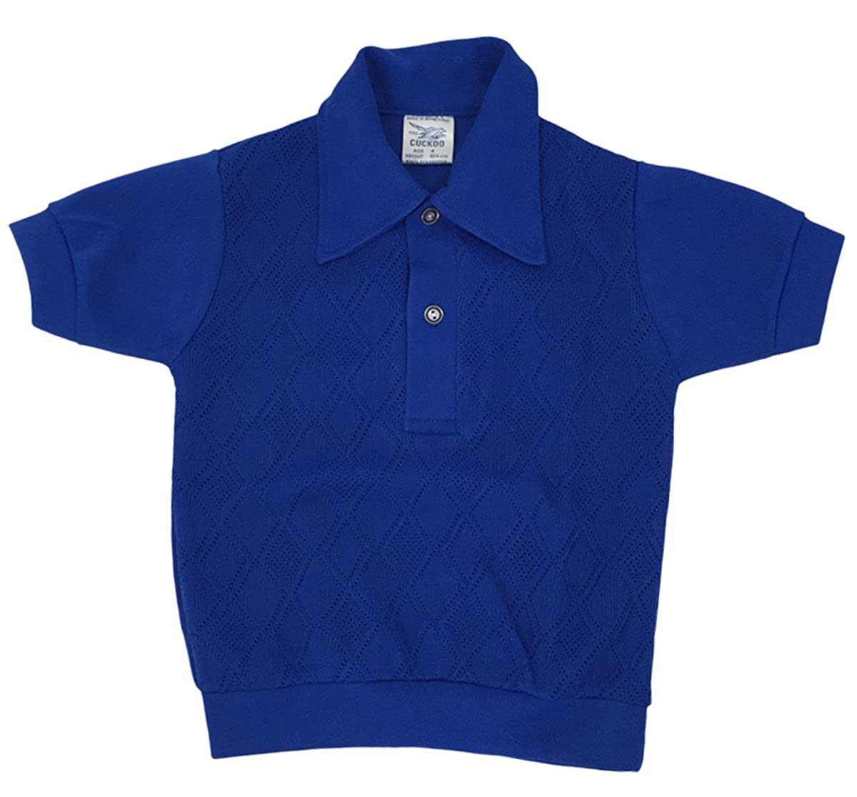 Boys Vintage Self Colour Jacquard Diamonds Knit Polo Shirt Top Sizes from 4 to 8 Years