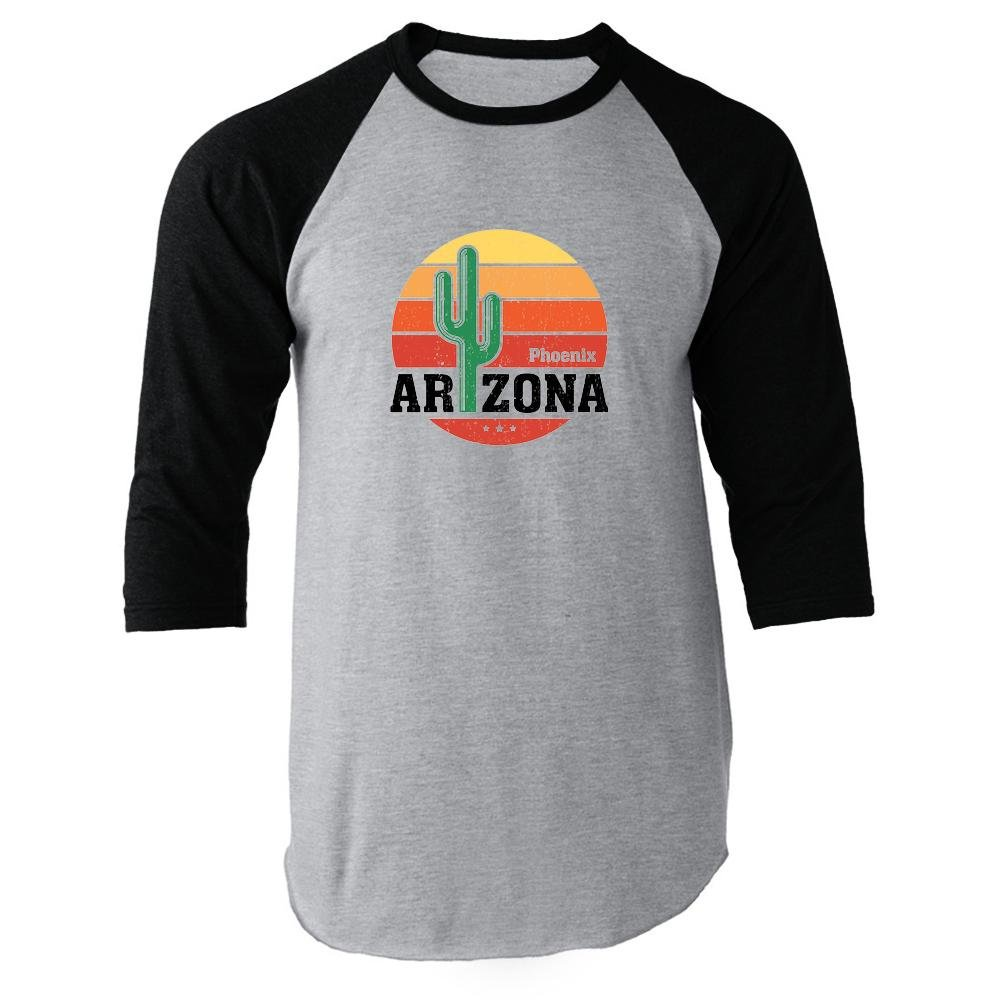 Black Pop Threads Phoenix Arizona Retro Travel Raglan Jersey TShirt by