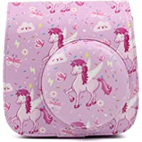 Pink Unicorn Patterned Protective Shoulder Bag Compatible for Fujifilm Instax Mini8 Mini 8/8+/9 Instant Film Camera Case Denim Material