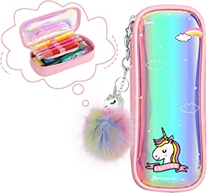 MoKo Pencil Case for Girls, Students Cute Unicorn Pen Pencil Pouch Holder Desk Organizer with Double Zippers and Key Chains for Middle High School Office College Student Women Adult Teen - Pink