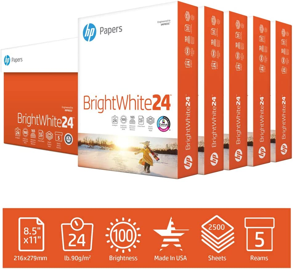 HP Printer Paper BrightWhite 24lb, 8.5x 11, 5 Ream Case, 2,500 Sheets, Made in USA From Forest Stewardship Council Certified Resources, 100 Bright, Acid Free, Engineered for HP Compatibility, 203000C