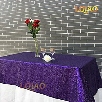 Ordinaire LQIAO Sparkly Purple Sequin Tablecloth 120x200cm Shimmer Sequin Fabric For  Wedding Christmas Party Table Decorations Sequin