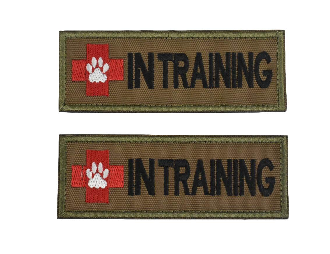 INTan,1.5X4.1Inch Service Dog Vest Patches Embroidered 2 Pack with Hook and Loop Backing for Animal Vest Harnesses, Collars, Leashes (LBlack)