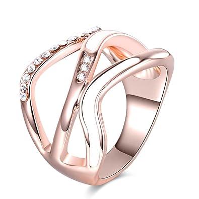 7530c67080e22 Amazon.com: TEMEGO 14k Rose Gold Wave Ring - Pave CZ White Enamel ...
