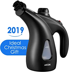 Clothes Steamer, 200ml Portable Garment Steamer, Aicok 900W Powerful Handheld Steamer, Fast Heat-up Clothing Steamer with Brush & Pouch for Home and Travel, Black
