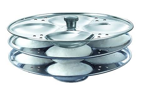 Valamji Stainless Steel Idli Plate Set  3 Plates   12 Idlis Dinnerware Sets