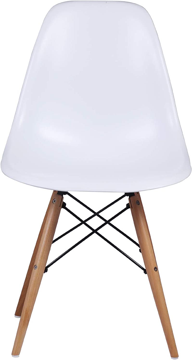 GIA Mid-Century Plastic Chair, 1-Pack, White/Wood Legs