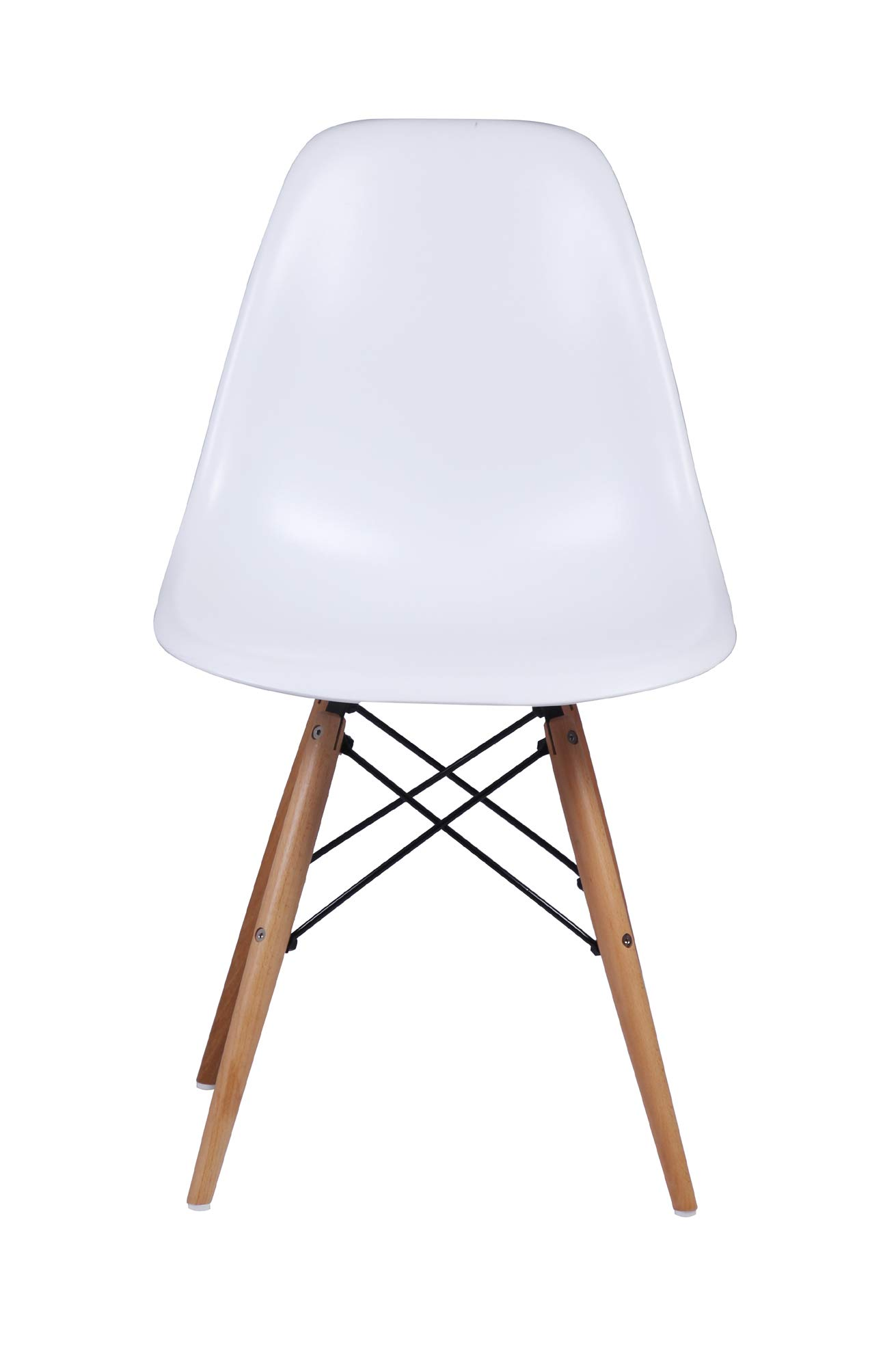 GIA Eames Plastic Armless Chair with Wooden Legs, White, 1-Pack
