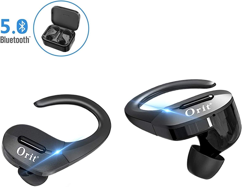Auriculares Bluetooth 5.0 Deportivos, Orit Auriculares Inalámbricos con Gancho de silicona, Cancelación de ruido DSP HiFi Estéreo Cascos Inalámbricos 45 Horas Autonomía con Caja de Carga Portátil