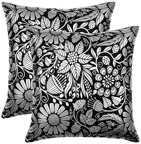 Bath Bed Decor Pack of 2 Accent Decorative Throw Pillow Covers Cushion Cases Cushion Cover Pillowcases in Cotton Canvas with Hidden Zipper Slipcovers for Couch Sofa Bed (18 x 18 Inches; Silver Black) ()