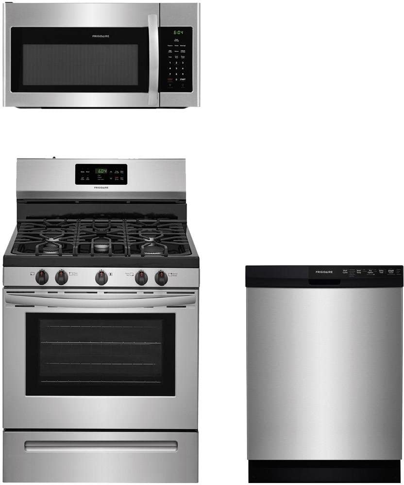 "Frigidaire 3-Piece Stainless Steel Kitchen Package with FFGF3054TS 30"" Freestanding Gas Range, FFMV1645TS 30"" Over-the-Range Microwave and FFBD2412SS 24"" Full Console Dishwasher"