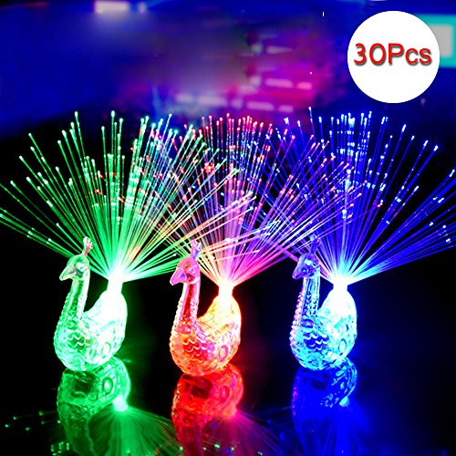 Cade Peacock Finger LED Light Ring for Parties Cheering Novelty Toys Gift For Kids, 30 Pcs