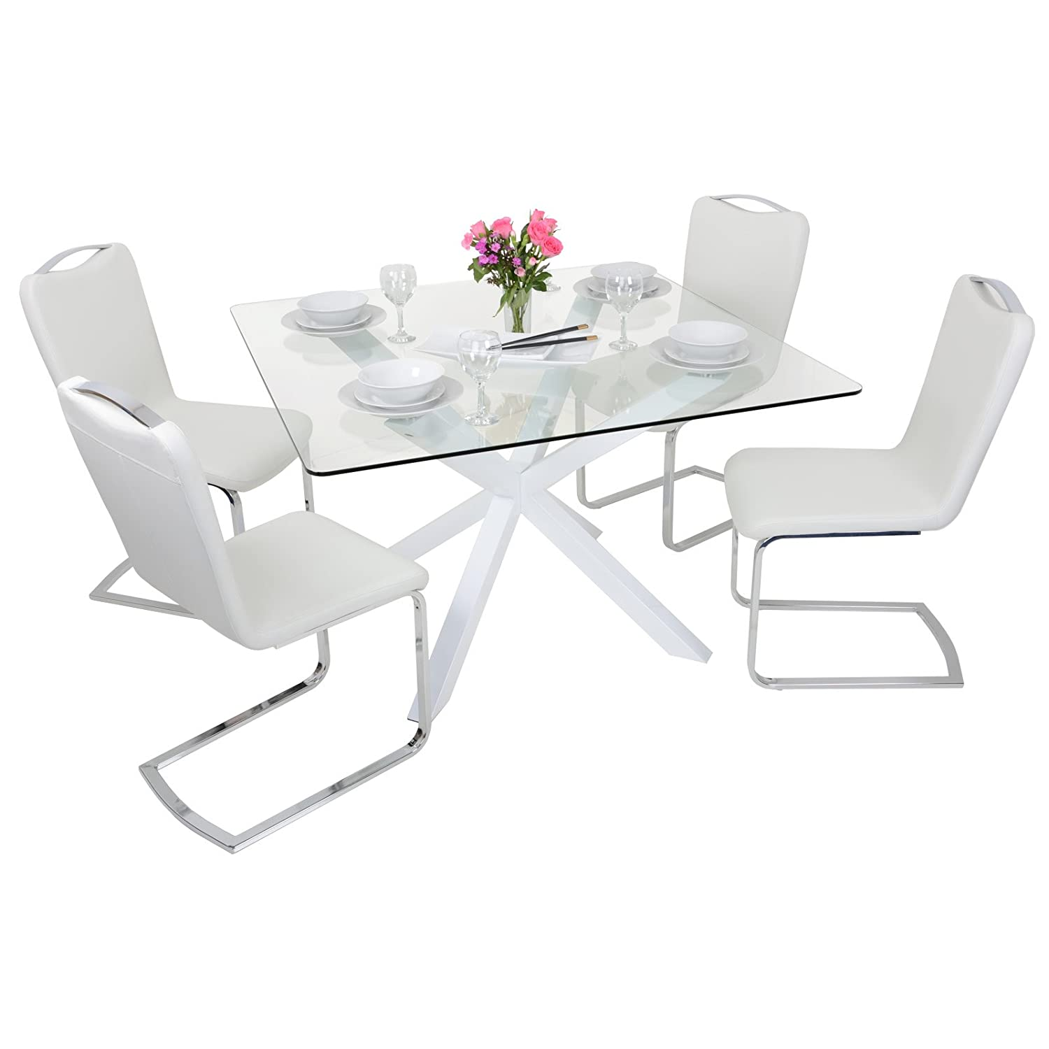 modern square clear glass top dining table set with  white faux  - modern square clear glass top dining table set with  white faux leatherchairs amazoncouk kitchen  home