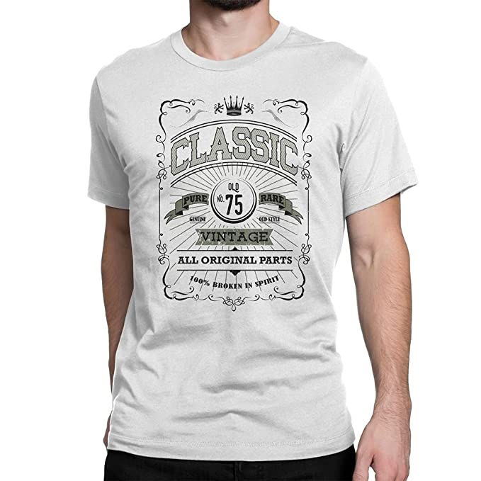 Amazon NYC FACTORY Classic Mens 75Th Birthday T Shirt Vintage Unisex 75 Black Clothing