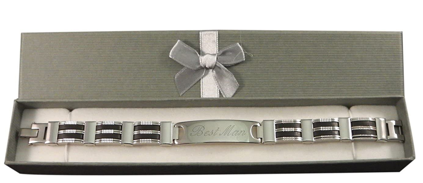 Custom In Gift Box BR5 Luxury Engraved Gifts UK Mens Best Man Identity Id Bracelet Personalised