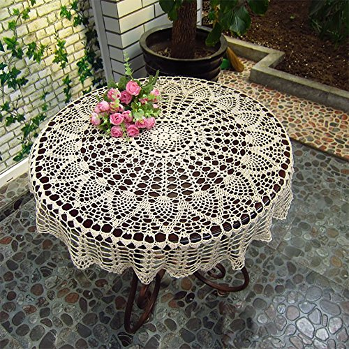 Hand Crocheted Cotton Crochet Round Tablecloths Cover Towel Multi Purpose  33.433.4In