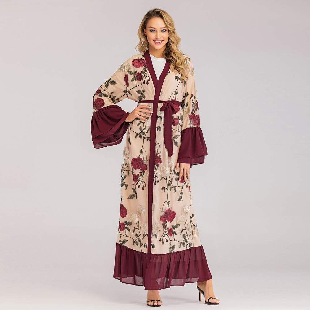 OOFAY Cardigan Musulmana, Medio Oriente Ricami Cuciture Abaya, L\'abito Nazionale di Stampa Floreale maroon