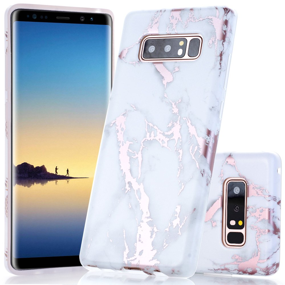 Galaxy Note 8 Case Shiny Rose Gold White Marble Design Clear Bumper