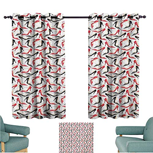 - DONEECKL Printed Curtain Red and Black Women Fashion Pattern with High Heel Stiletto Shoes Ladies Footwear Blackout Draperies for Bedroom Window W63 xL72 Scarlet Black Beige