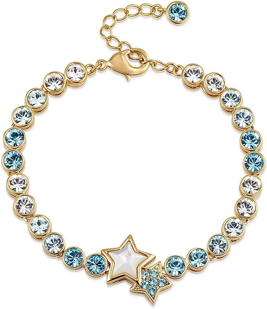 Rizilia Tenis Pulsera [21cm/8.5inch] con Corte de Estrella Swarovski Cristal [Aguamarina] en 18K Chapado en Oro Amarillo, Elegancia Moderna Sencillo