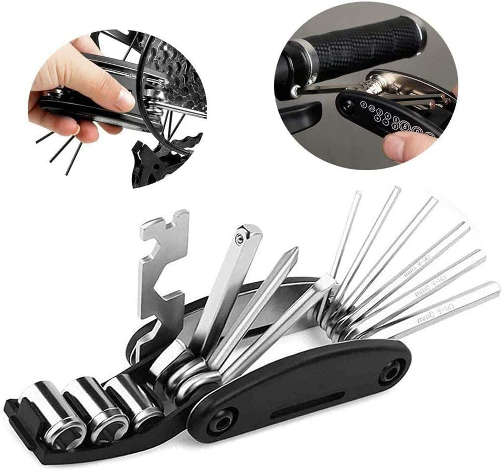 16 in 1 Bike Multi-function Kit with Tube Wrench Tire Pry Bars Rods Tire Lever yVicv Bicycle Repair Tool