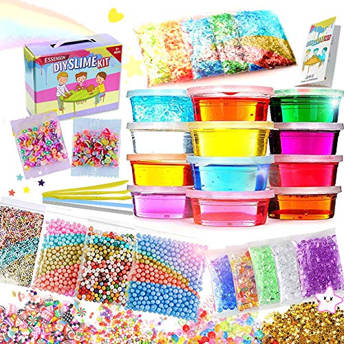 (ESSENSON Slime Kit Slime Supplies Make Your Own Slime, Slime Making Kit for Girls Boys Kids, Includes Clear Crystal Slime, Slime Containers, Foam Balls, Fruit Slices, Fishbowl Beads, Sugar Paper)