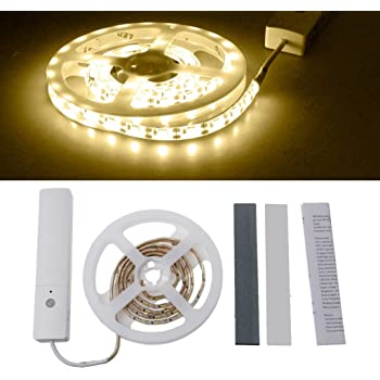 SYlive Motion Sensor Strip Light, 60 LED Waterproof Flexible Strip Light Battery Operated -Wardrobe Cabinet 1m (Warm White)