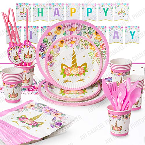 Unicorn Party Supplies Set For 16 Guests With Happy Birthday Banner Perfect For Girl's Birthday Party Including Unicorn Party Plates With Dessert Plates, Unicorn Tablecloth, Cups & Straws,Cutlery - Cup Set Dessert