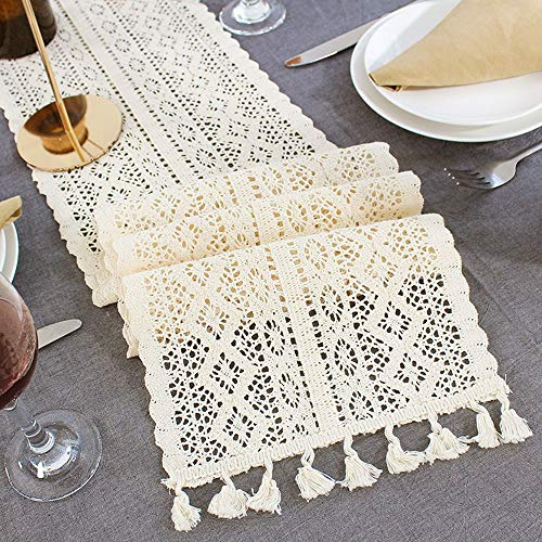 (Lahome Handmade Cotton Crochet Table Runner with Tassels Off-White Retro Macrame Table Runners for Wedding Festival Event Table Decoration (9.5