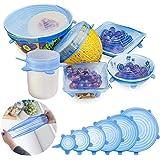 GESCHOK Couvercle Silicone Alimentaire, 6 Paquets de couvercles Extensible en Silicone, Flexible, réutilisable, couvercles de Stockage de Nourriture Couvertures Extensibles d'épargnant