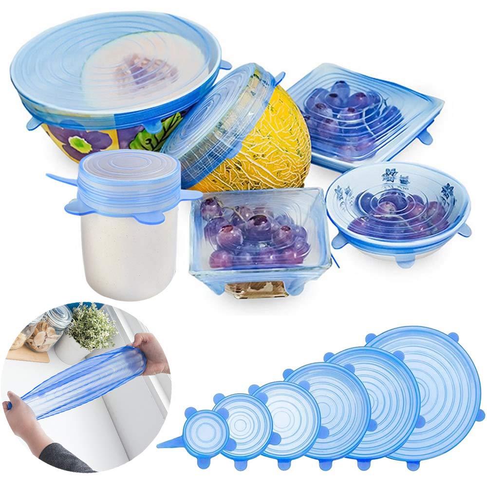 Coperchio in silicone estensibile, 6 pezzi di tappi in silicone per contenitori flessibile, riutilizzabile e duraturo per alimenti, coperchio per conservazione, contenitori per alimenti Coperchi per alimenti GESCHOK
