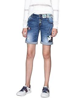 Desigual Damen Denim Knee Trousers Catrina Woman Blue Shorts