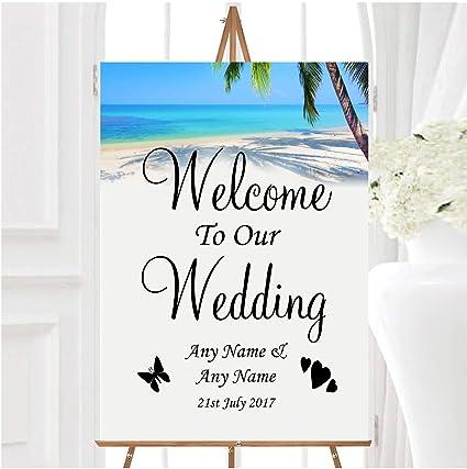 Tropical Beach Palm Tree - Cartel personalizable con texto ...
